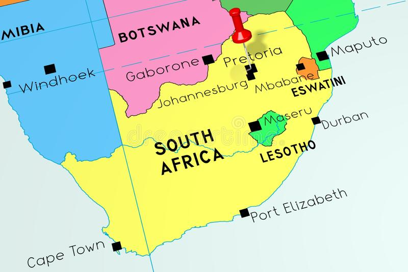 South Africa, Pretoria - capital city, pinned on political map stock illustration