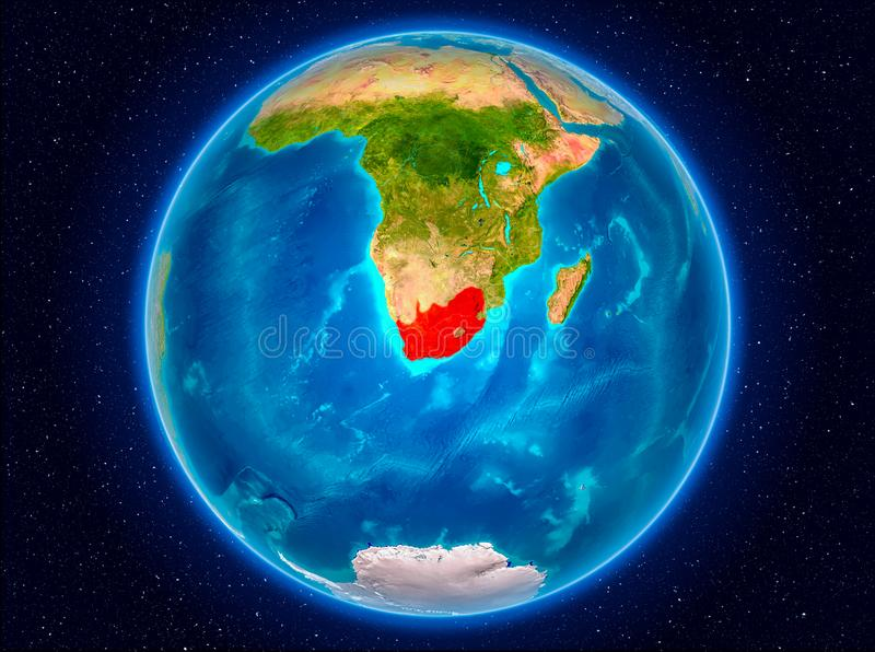 South Africa on Earth. South Africa in red from Earth's orbit. 3D illustration. Elements of this image furnished by NASA stock illustration