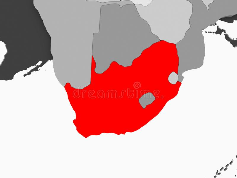 Map of South Africa. South Africa in red on grey political map with transparent oceans. 3D illustration royalty free illustration