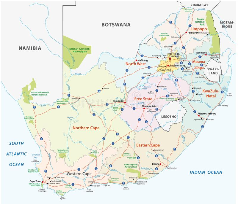 South africa road, administrative and political vector map stock illustration