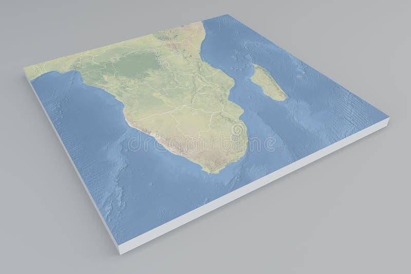 South Africa Satellite View Split 3d Map Stock Illustration
