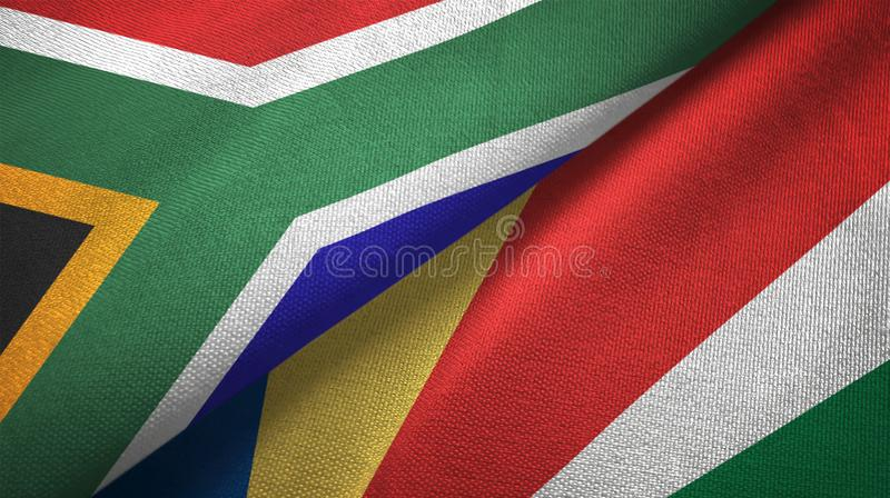 South Africa and Seychelles two flags textile cloth, fabric texture royalty free illustration