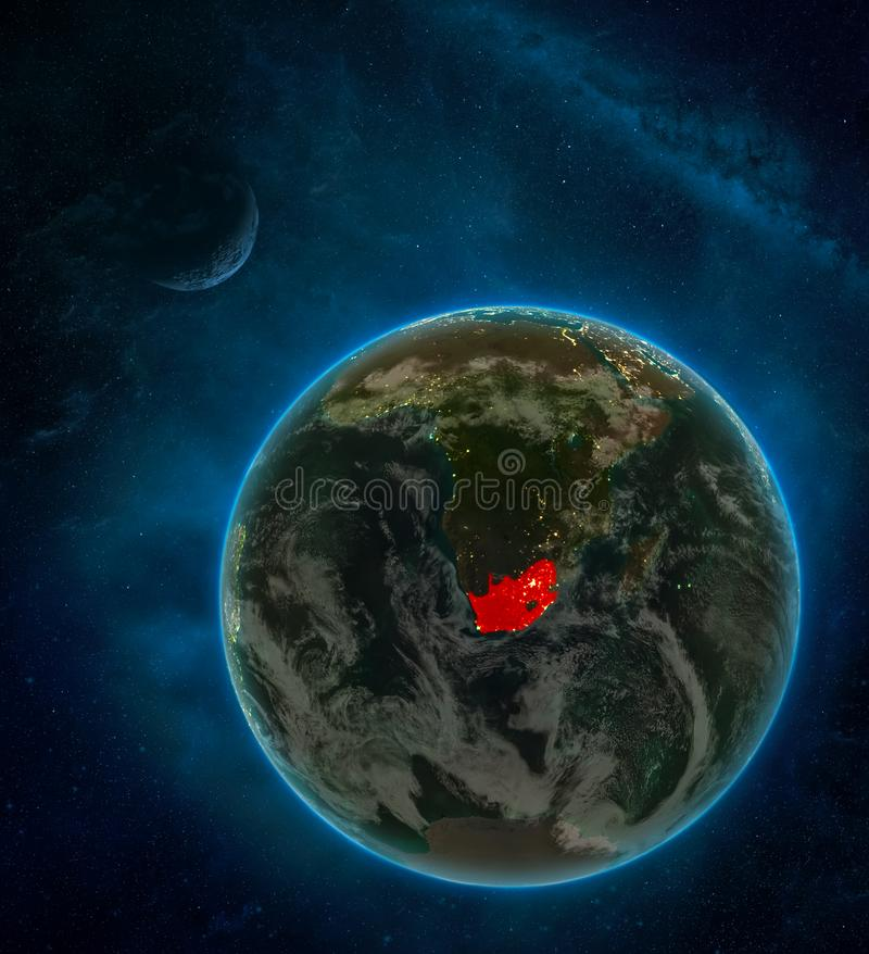 South Africa from space on Earth at night surrounded by space with Moon and Milky Way. Detailed planet with city lights and clouds. 3D illustration. Elements royalty free illustration
