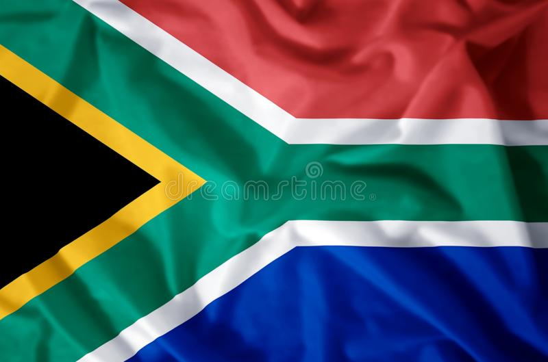 South Africa. Stylish waving and closeup flag illustration. Perfect for background or texture purposes royalty free illustration