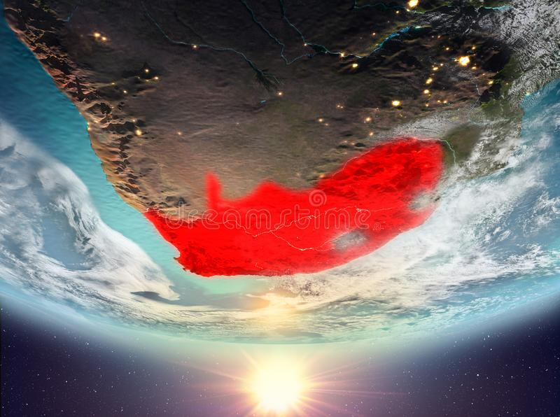 South Africa with sun. South Africa during sunrise highlighted in red on planet Earth with clouds. 3D illustration. Elements of this image furnished by NASA stock illustration