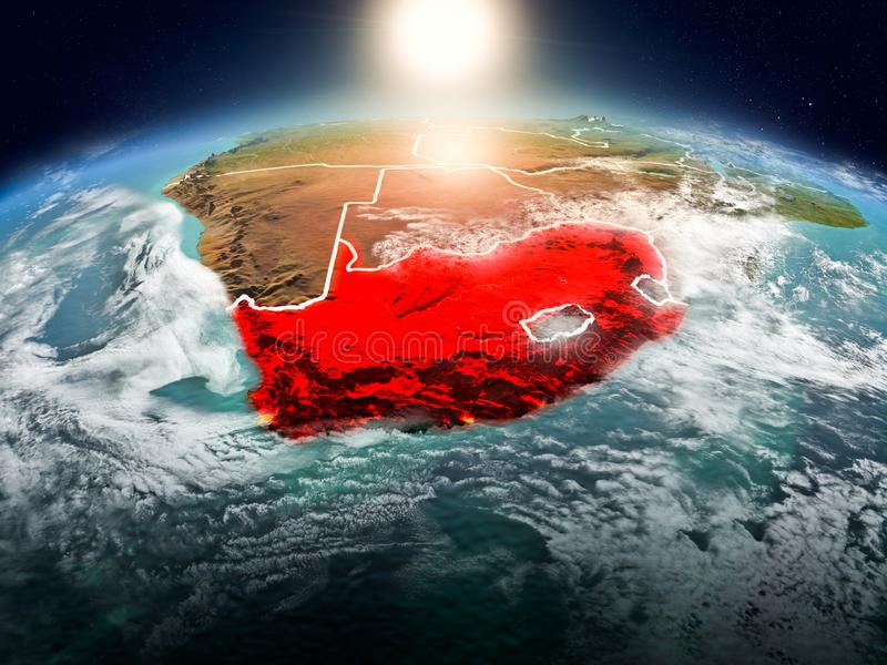 South Africa in sunrise from orbit. Sunrise above South Africa highlighted in red on model of planet Earth in space with visible country borders. 3D illustration royalty free illustration