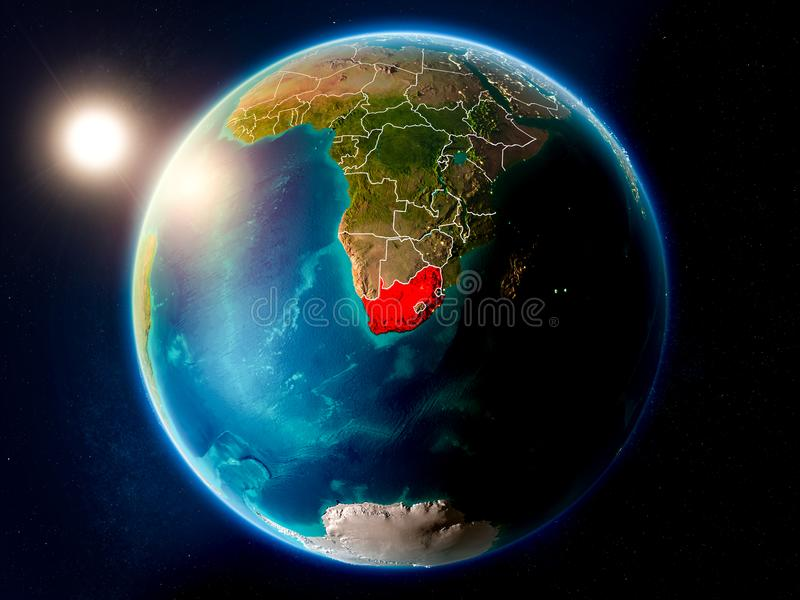 South Africa with sunset from space. Sunset above South Africa highlighted in red on planet Earth with visible country borders. 3D illustration. Elements of this royalty free illustration