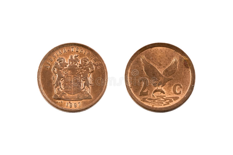 South Africa Two Cent Coin. A two cent coin from South Africa, currency called rand. Afurika Tshipembe inscribed, 1997 stock photos