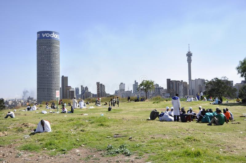 South Africa: View over Johannesburg-Hillbrow near the Vodaphone-Tower and football-station royalty free stock photos