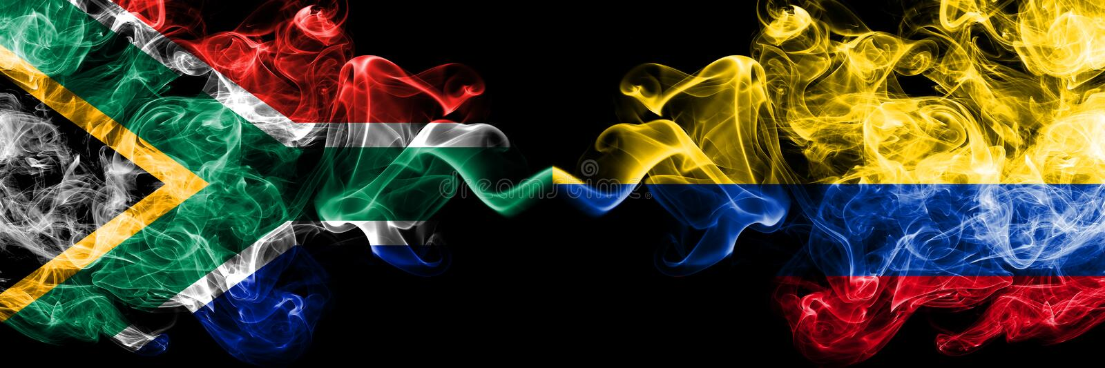South Africa vs Colombia, Colombian smoky mystic flags placed side by side. Thick colored silky abstract smoke flags concept.  royalty free illustration