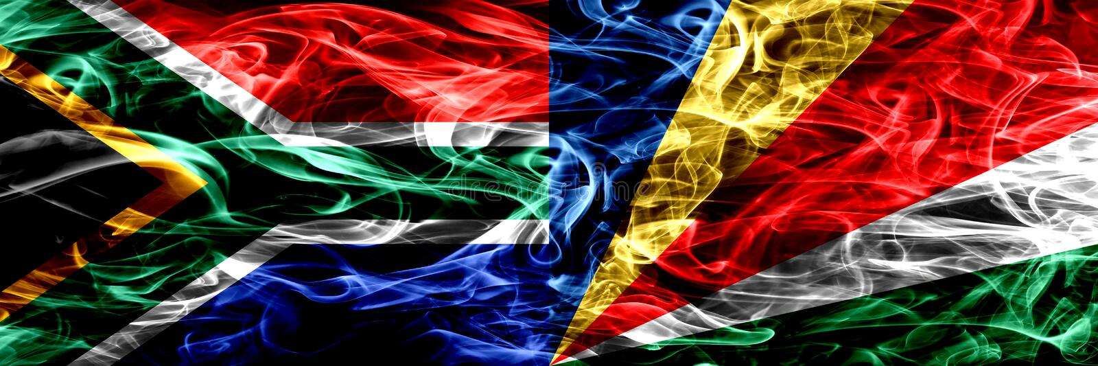 South Africa vs Seychelles, Seychelloise smoke flags placed side by side. Concept and idea flags mix. vector illustration