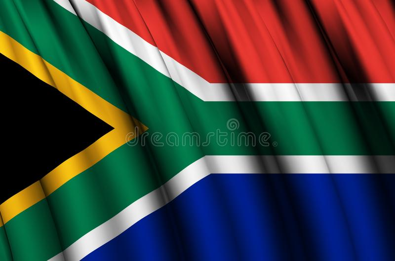 South Africa waving flag illustration. Countries of Africa. Perfect for background and texture usage royalty free illustration
