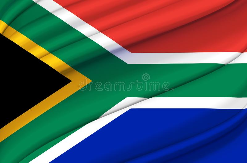 South Africa waving flag illustration. Countries of Africa. Perfect for background and texture usage stock illustration