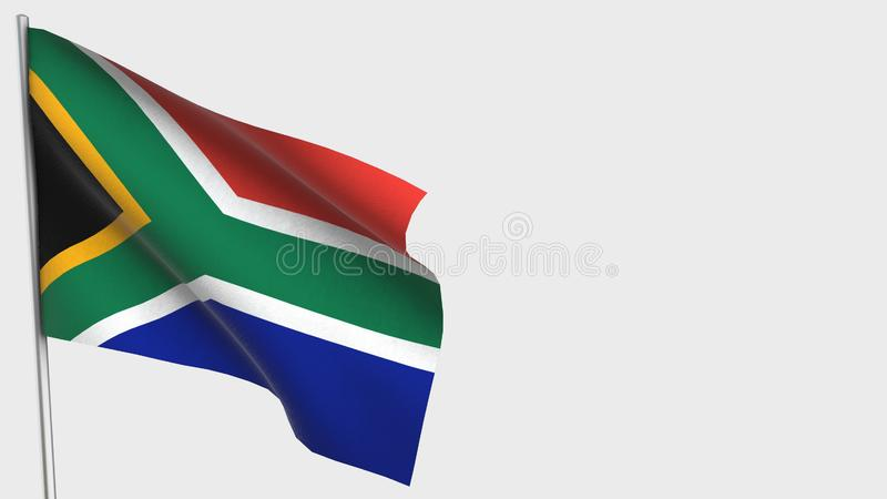 South Africa waving flag illustration on flagpole. Perfect for background with space on the right side vector illustration