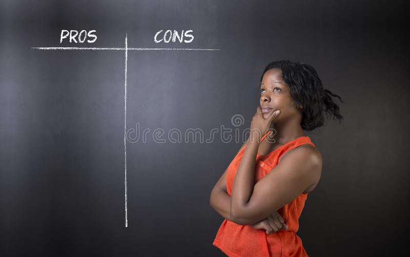 South African or African American woman teacher or student pros and cons decision list stock photos