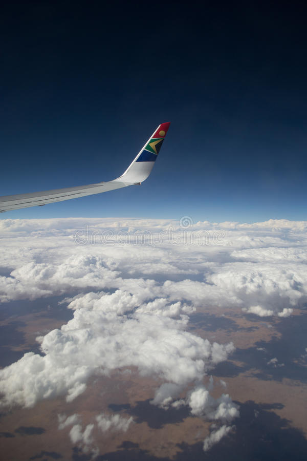 South African Ariways wing view stock photos