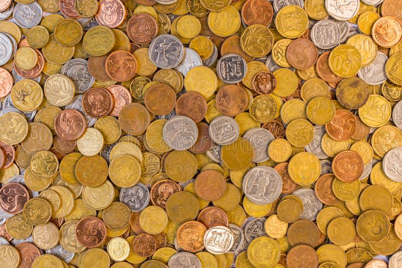 South african currency coins closeup picture stock photography