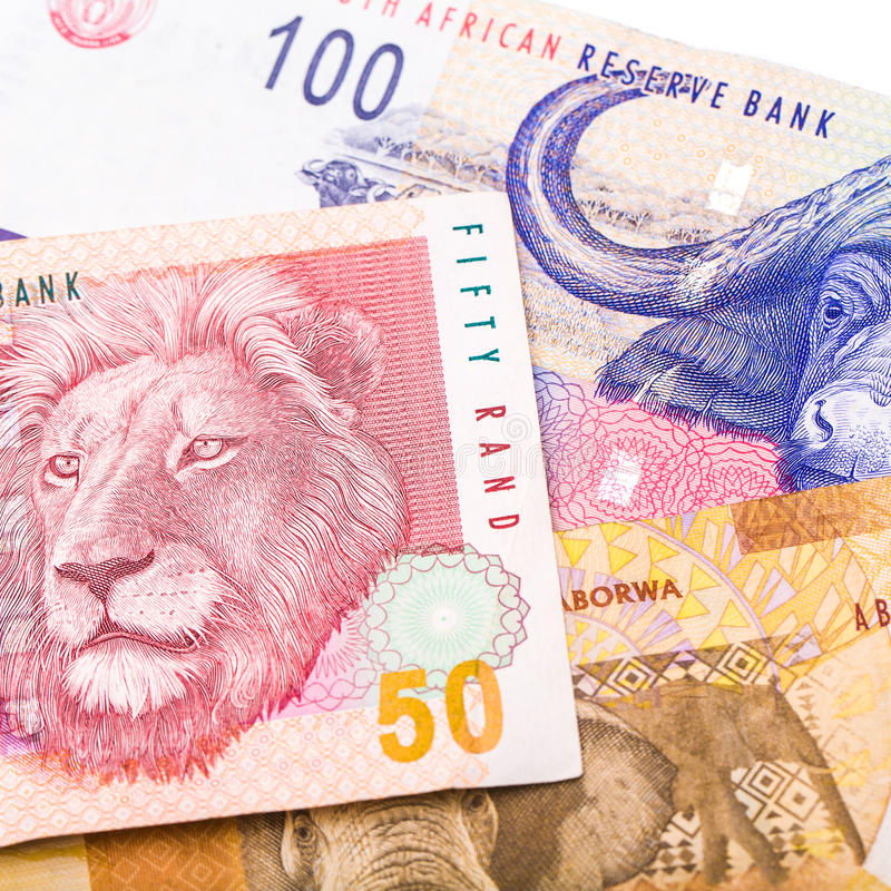 20 50 100 South African currency the Rand isolated on white back royalty free stock photos