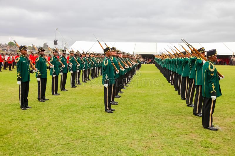 South African Defence Force soldiers on parade stock photo