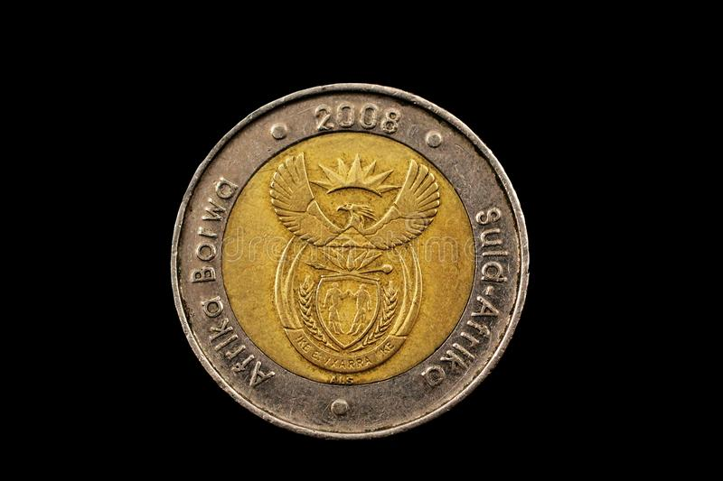 South African Five Rand Coin Isolated On Black stock photos