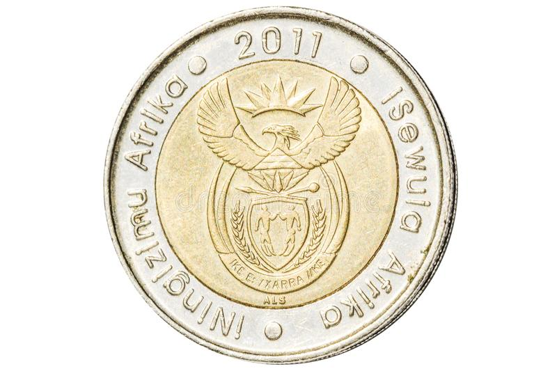 South African five rand coin. Introduced in 2004 closeup with symbol of coat of arms of South Africa. Isolated on white studio background royalty free stock image