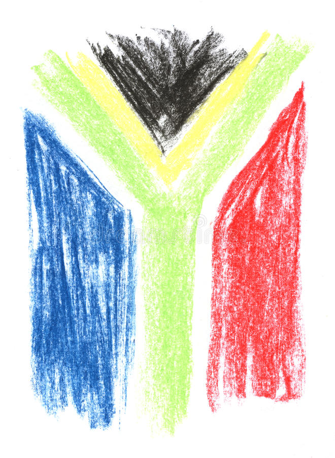 South african flag. Crayon sketch of a south african flag on white paper stock illustration