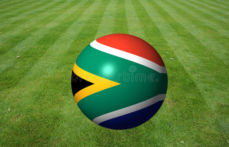 South African Flag Ball On Grass Stock Images