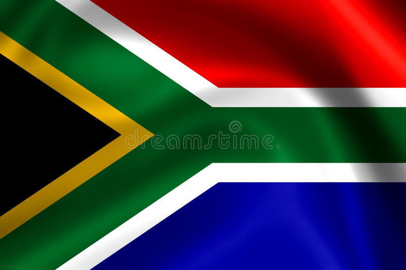 South African flag. Close up shot of wavy, colorful South African flag vector illustration