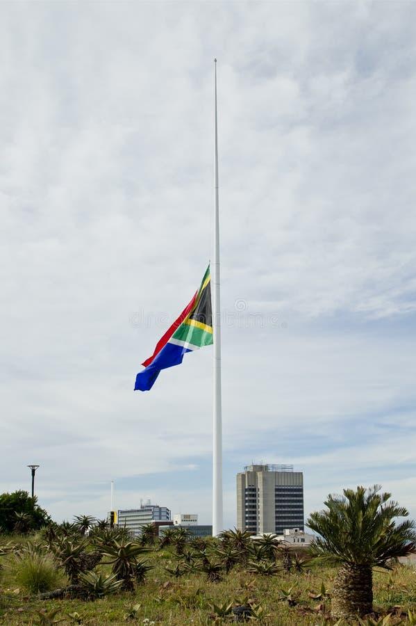 South African Flag At Half Mast Royalty Free Stock Photos