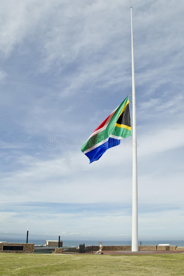 Download South African Flag At Half Mast Stock Photo - Image: 36113648