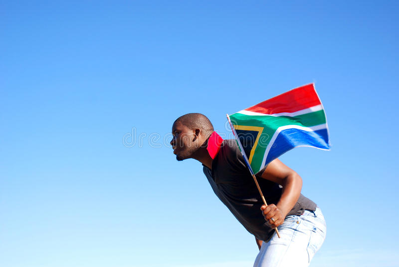 Download South African Flag Runner Royalty Free Stock Photography - Image: 14460337