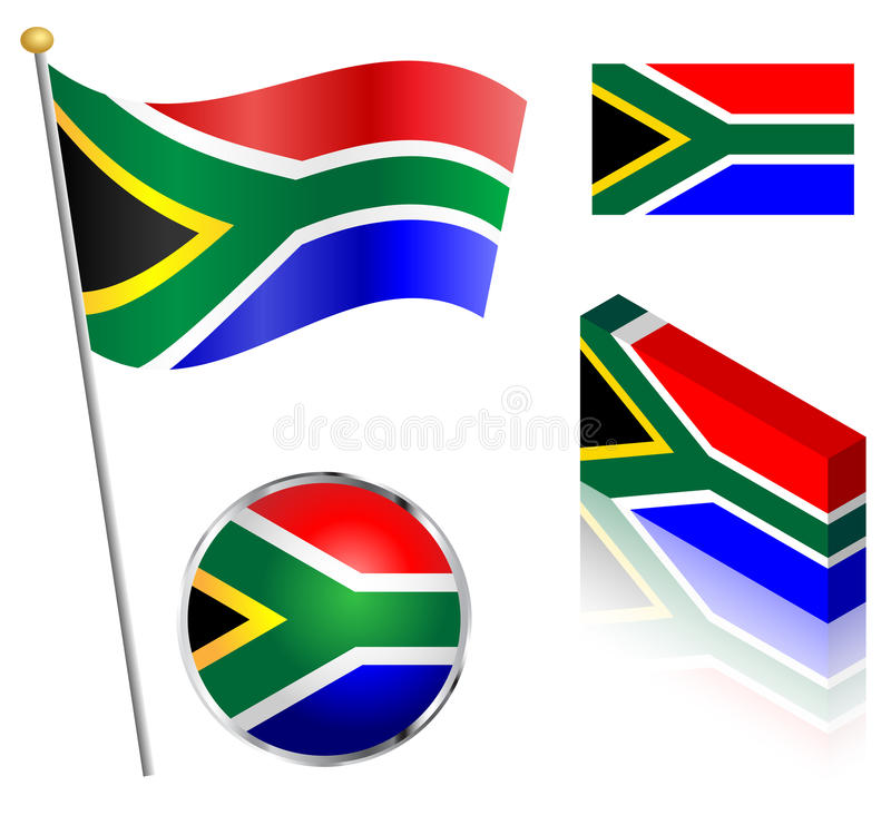 South African Flag Set. South African flag on a pole, badge and isometric designs vector illustration stock illustration