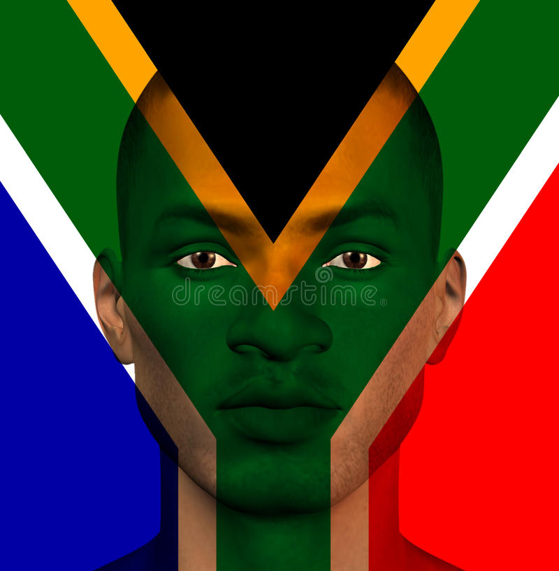 South African flag superimposed upon man stock illustration
