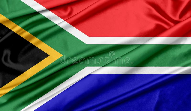 South African flag texture background. South African flag wave silk texture background royalty free stock photography
