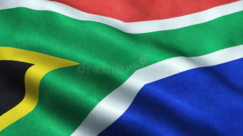South African flag waving in the wind isolated South Africa. South African flag waving in the wind isolated background symbole of South Africa stock image