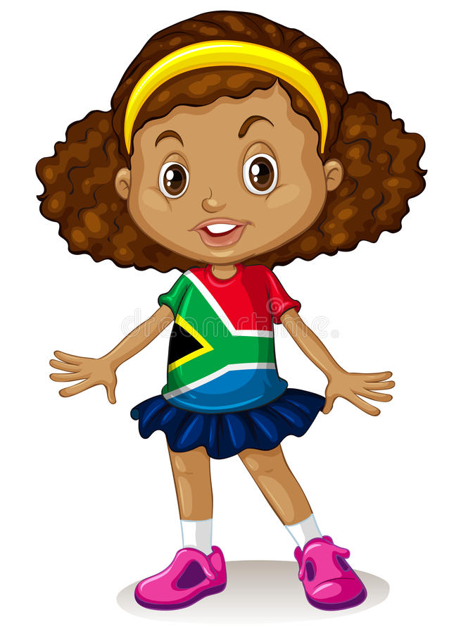 South African girl standing alone royalty free illustration