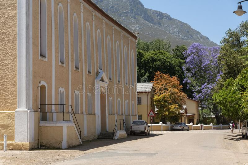 South African historic places and churches. Genadendal, Overberg, Western Cape, South Africa. Centre of this historic town and Moravian Church along the Garden royalty free stock photography