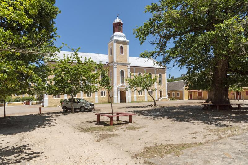 South African historic places and churches in the Overberg region. Genadendal, Overberg, Western Cape, South Africa. Dec 2019.  Centre of this historic town with royalty free stock photo
