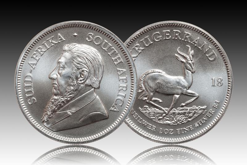 South African Krugerrand 1 ounce silver bullion coin gradient background royalty free stock images