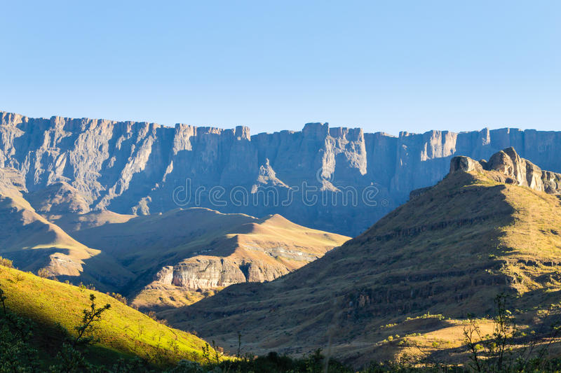 South African landmark, Amphitheatre from Royal Natal National Park. Drakensberg mountains landscape. Top peaks royalty free stock photos