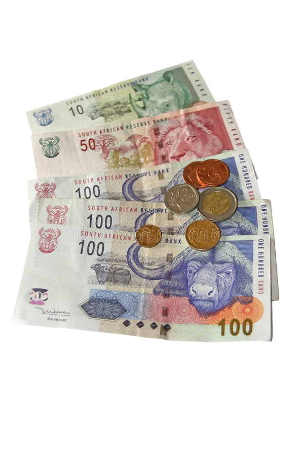 South African Money on white stock images