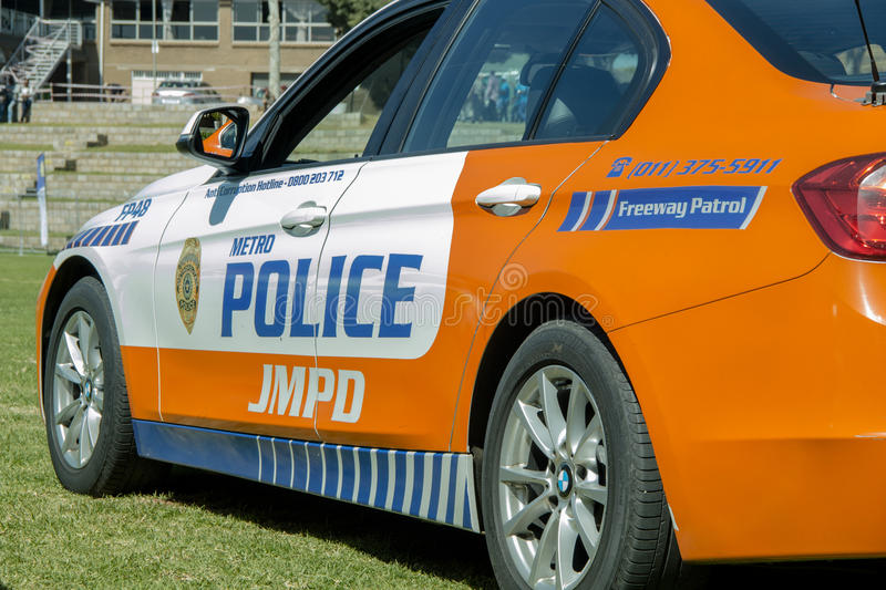 South African Police Car - Back Angled to Side View royalty free stock photos