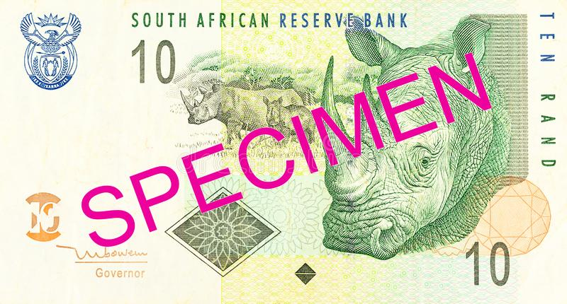 10 south african rand bank note obverse. A single 10 south african rand bank note obverse specimen stock photography