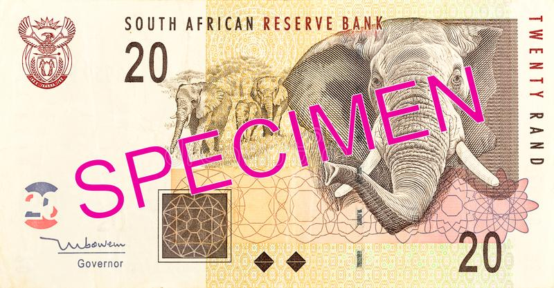 20 south african rand bank note obverse. Specimen stock images