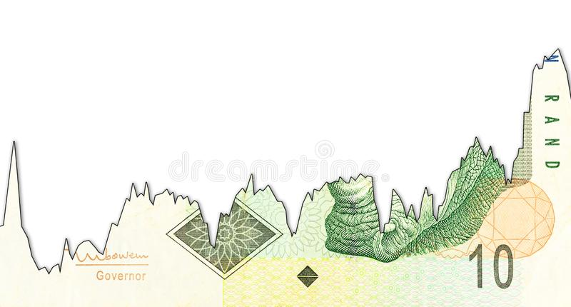 10 south african rand banknote decline graph indicating exchange rate with copyspace. 10 south african rand banknote with decline graph indicating exchange rate royalty free stock image