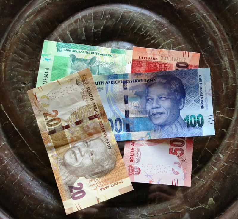 South African Rand banknotes. Assortment royalty free stock photo