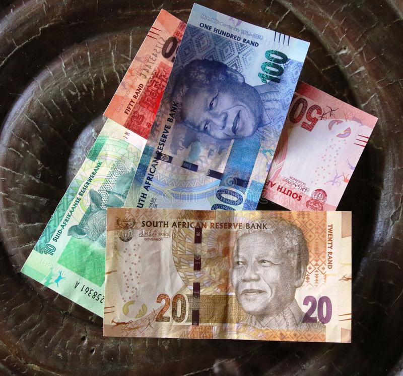South African Rand banknotes. Assortment stock images