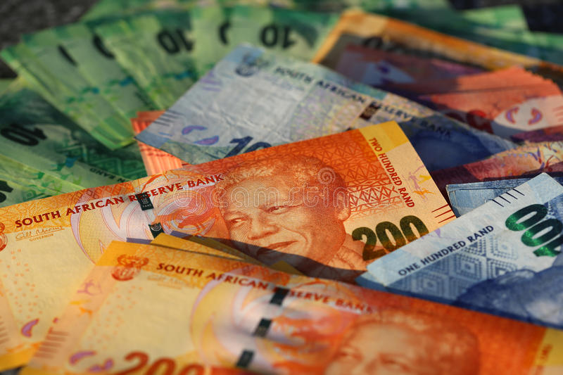 South African Rand Banknotes. Different South African Rand Banknotes stock photos