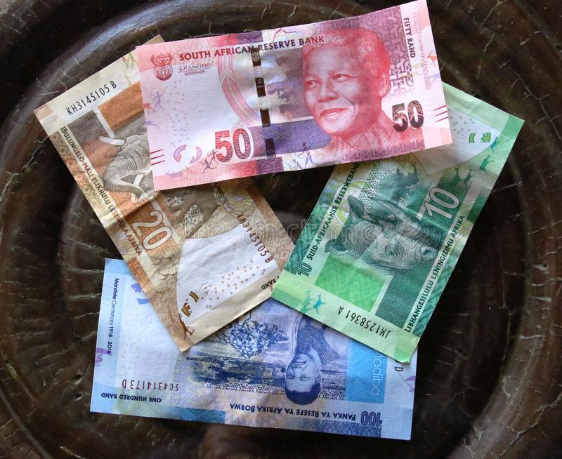 South African Rand banknotes. Assortment stock photo