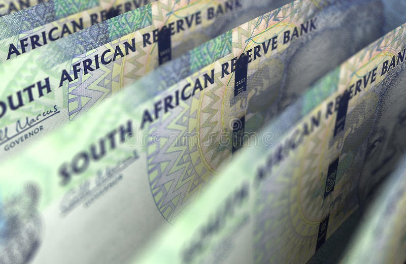 South African Rand Closeup. Computer generated image stock image